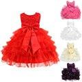 Nueva llegada girls dress birthday baby girl vestidos niños niños ropa de verano de encaje sin mangas de traje de cumpleaños ld789