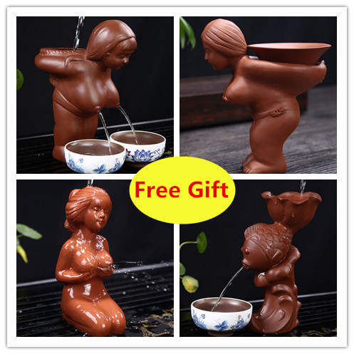 tea filter holder Chinese Purple Clay Tea Pet big tits girl tea divider water spray Tea Accessories home decoration breasts
