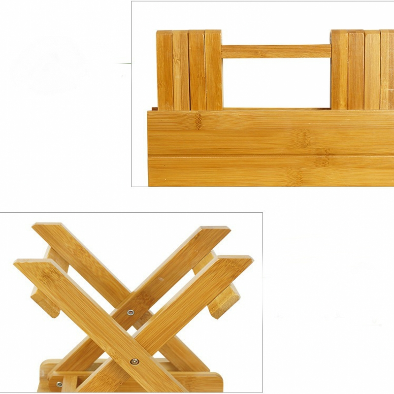 Environmental bamboo made square small benches portable & folding ...