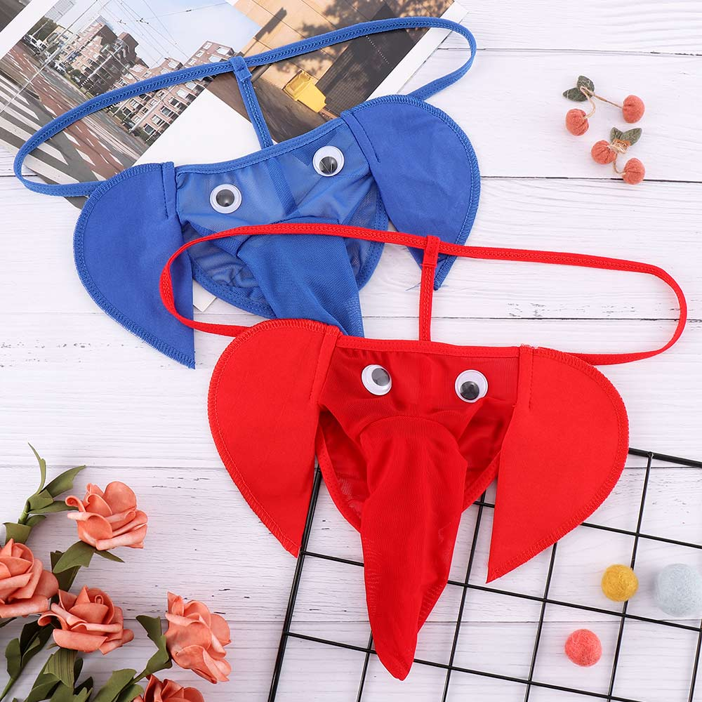 Sexy Men Elephant Design G-string Bulge Pouch Briefs Elastic T-back Thong Men's Exotic Underwear Sexy Funny Calzoncillos Homme