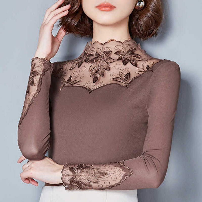 Embroidery Women Mesh Lace Blouses Shirts See Through Style Spring Summer Long Sleeve Turtleneck Collar Blusas DD1491