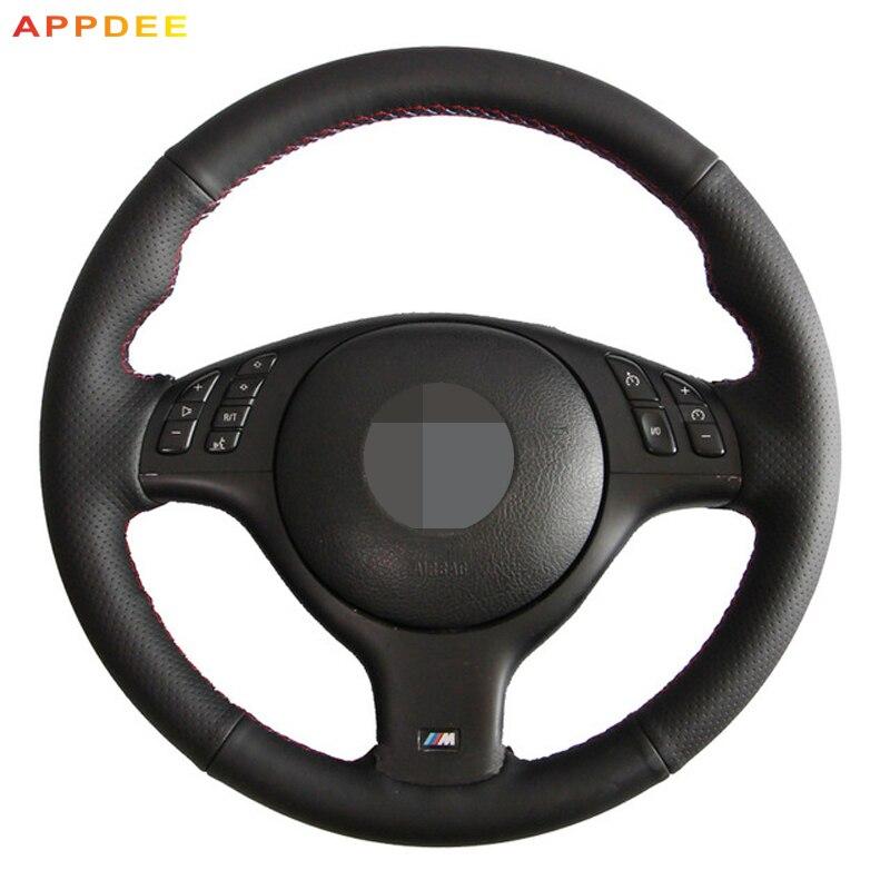 APPDEE Black Leather Hand-stitched Steering Wheel Cover for BMW E46 E39 330i 540i 525i 530i 330Ci M3 2001-2003