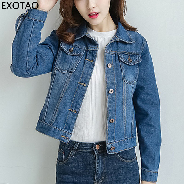 beebfaae8169d EXOTAO 2017 New Fashion Slim Short Denim Jackets Women Long Sleeve Autumn  Chaquetas Female Cropped Jeans Coats Blue Casacos