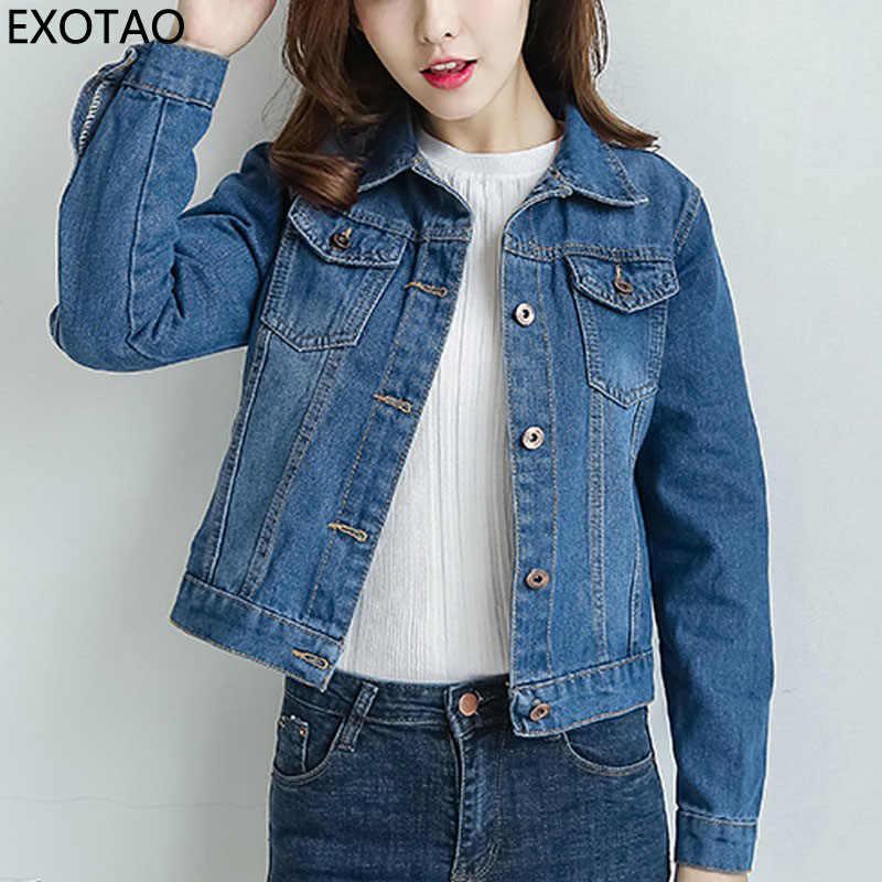 EXOTAO 2017, новая мода тонкий короткие джинсовые куртки для женщин с  длинным рукавом Осень Chaquetas 52ffa5070e6