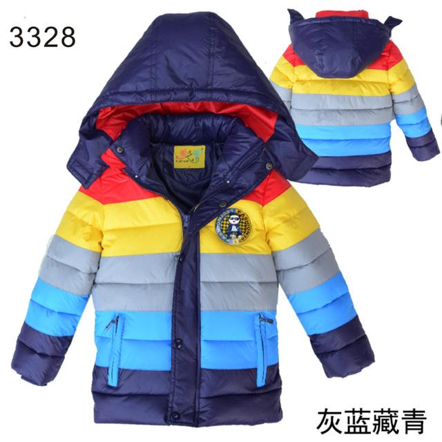 2016 Niños Del Invierno Chaquetas Niños Niñas Raya caliente Abajo Chaqueta Niños ropa de Abrigo Abrigos Ropa Para Niños Bebés Niñas ropa de abrigo