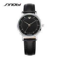 Sinobi Women Fashion Quartz Wrist Watch Black Leather Silver Nail Waterproof Female Brand Ladies Alloy Wristwatches
