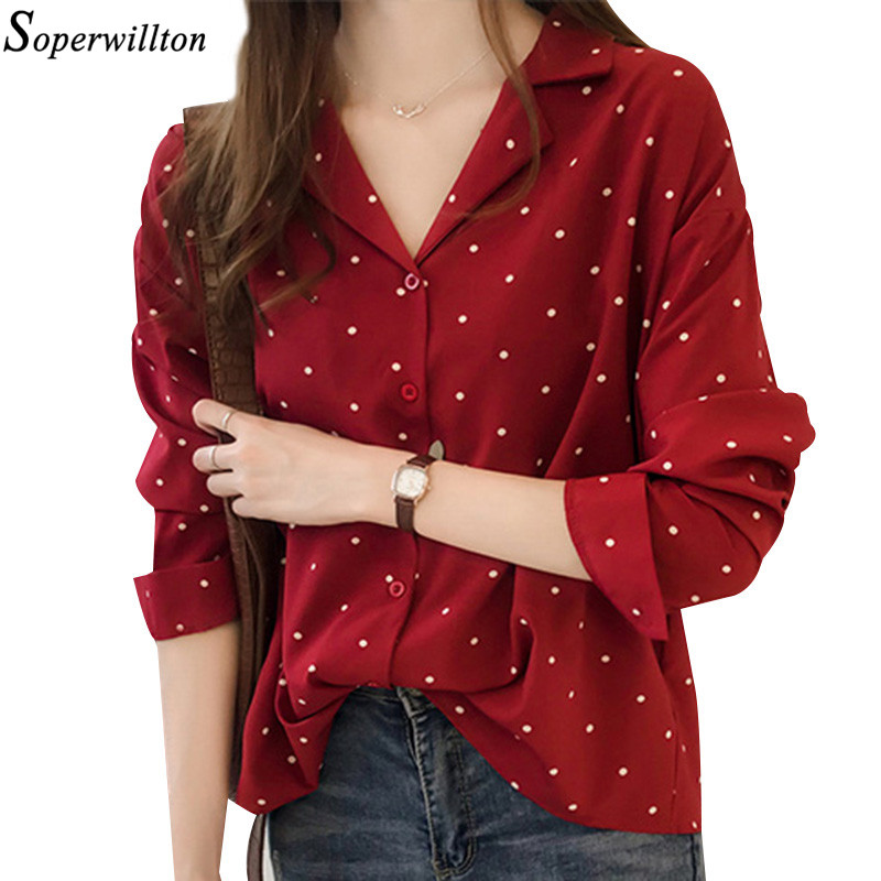 Women Office Blouse Feminine Plus Size Polka Dot Elegant Shirt ...
