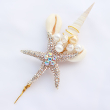 Ocean theme groom corsages, beach wedding starfish shell hemp Men's brooch, bridegroom jewelry accessories lapel flowers