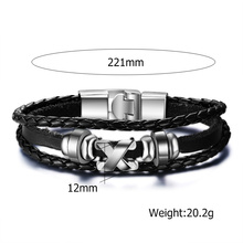 Leather Bangle Bracelet with Stainless Steel Clasp