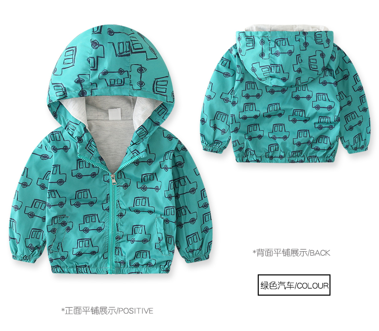 Boy\'s Jacket Children Winter Jackets for Boys Hooded Coats Tops Green Print Cars Drawing Kids Clothes Thin 2018 Brand Design kid (5)