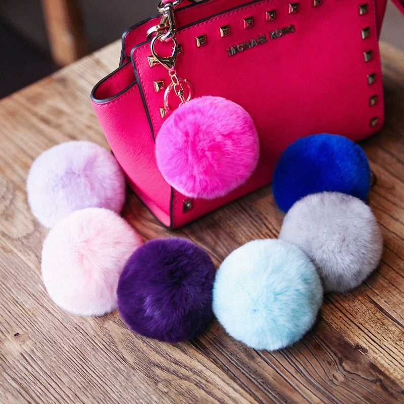 Marca fofo pele de coelho pompom 8 cm para sacos & carros charme real natural bolas de pele genuíno chaveiro K005-grey