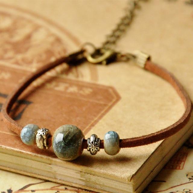 Серебряный цветочный Шарм кожаные браслеты Керамика Бусины Регулируемый звено цепи манжеты браслеты для женщин мужчин чешские ювелирные изделия