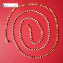 Fashion all-match 2 single row silver diamond belly chain belly dance metal rhinestone thin belt недорого