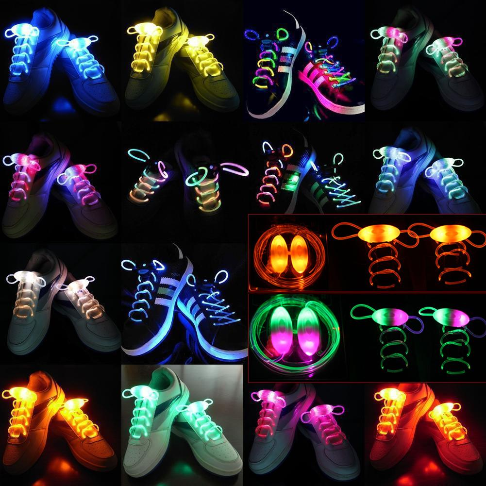 LED Flash Luminous Light Up Glow Strap Shoelace Party Disco Decor Flashing Colored Round Flash Light  No Tie Lazy Shoe Laces