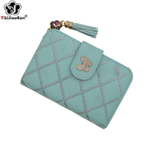 Cute Tassel Women Wallets and Purses Brand Leather Short Purse Hasp Small Wallet Coin Pocket Card Holder Wallets Money Bag 2019 brand new lovely women lady retro vintage owl print small wallet hasp purse clutch bag hasp coin purses small