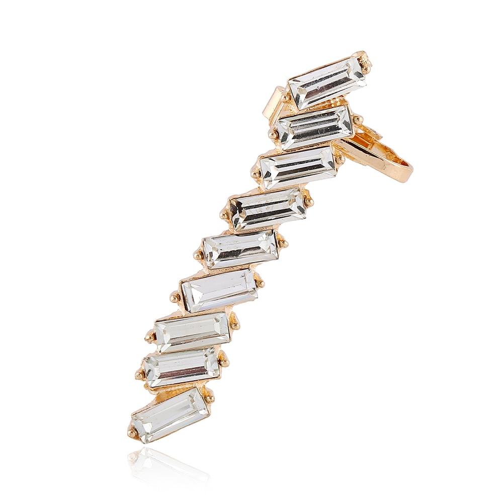Box Crystalbination Clip Earrings Left Ear Cilp Gold Silver Ear Cuff  Earring Jewelry For Women