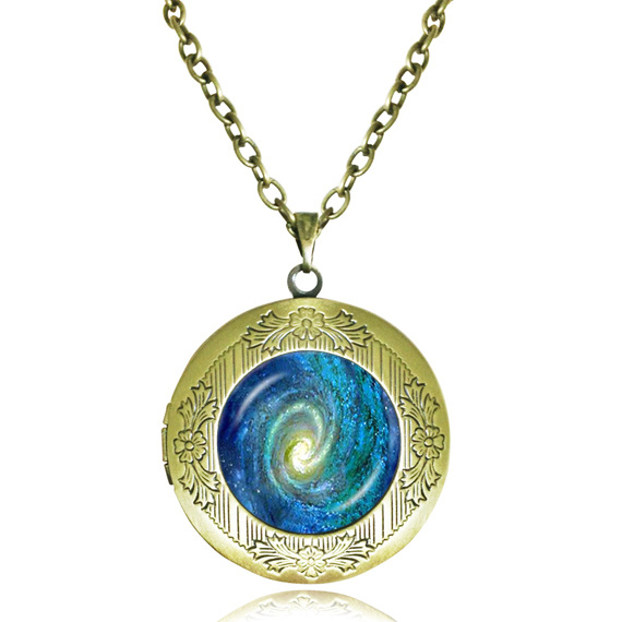 Solar system necklace blue galaxy space pendant universe nebula necklace glass locket pendant Milky Way jewelry picture frame