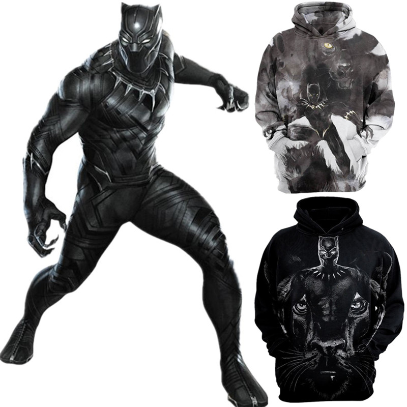 3D Print Black Panther Avengers Endgame Hoodie Sweatshirt Cosplay Costume Black Panther Jacket Coats Men and Women New