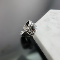 Natural Black Mother Pearl Stone Solid Silver 925 Rings Women Elegant Vintage Flower Cuff Ring Thai