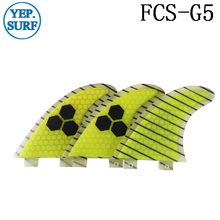 Quilhas Surf FCS Fibreglass Fins G5 Yellow carbon line  black logo Honeycomb Fin Free Shipping