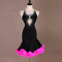 pink feathers latin dress women salsa dress latin practice wear latin dance competition dress salsa costume latin dance wear