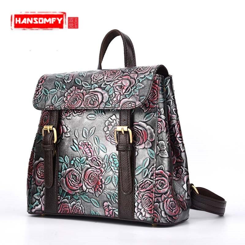Geometrical vintage hand-rubbed Women backpack in-hand Embossed zipper leather flowers female backpacks ladies shoulder bag hand in hand