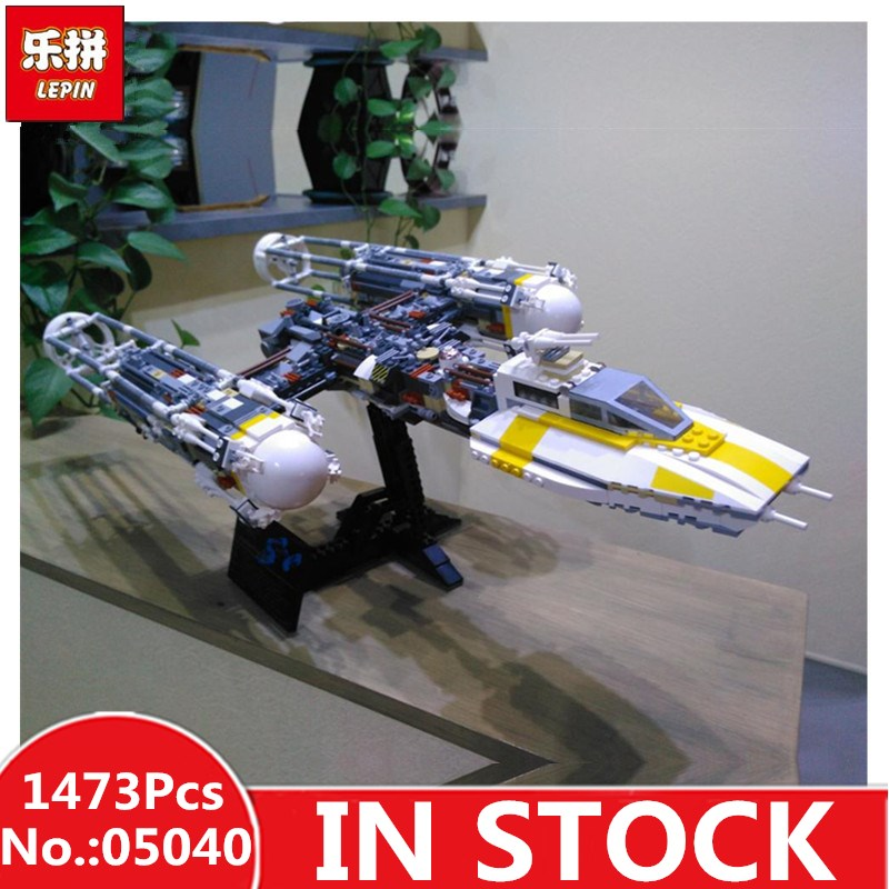 IN STOCK H&HXY 05040 1473Pcs star MOC Y-wing Attack fighter wars lepin Model Building Blocks Bricks Christmas Toys Gift 10134 clone 10134 moc lepin 05040 1473pcs star wars y wing attack starfighter model building kits blocks bricks toys for children gift