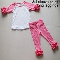 ホットピンク三四半期tシャツセットシャーリングスリーブノベルティレギンス衣装ドレス女の子綿春セット