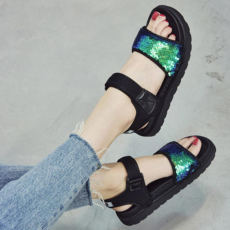 b974020abdb 2018 new sandals female summer women s shoes Korean casual Harajuku style  flat bottom thick platform cake shoes tide.