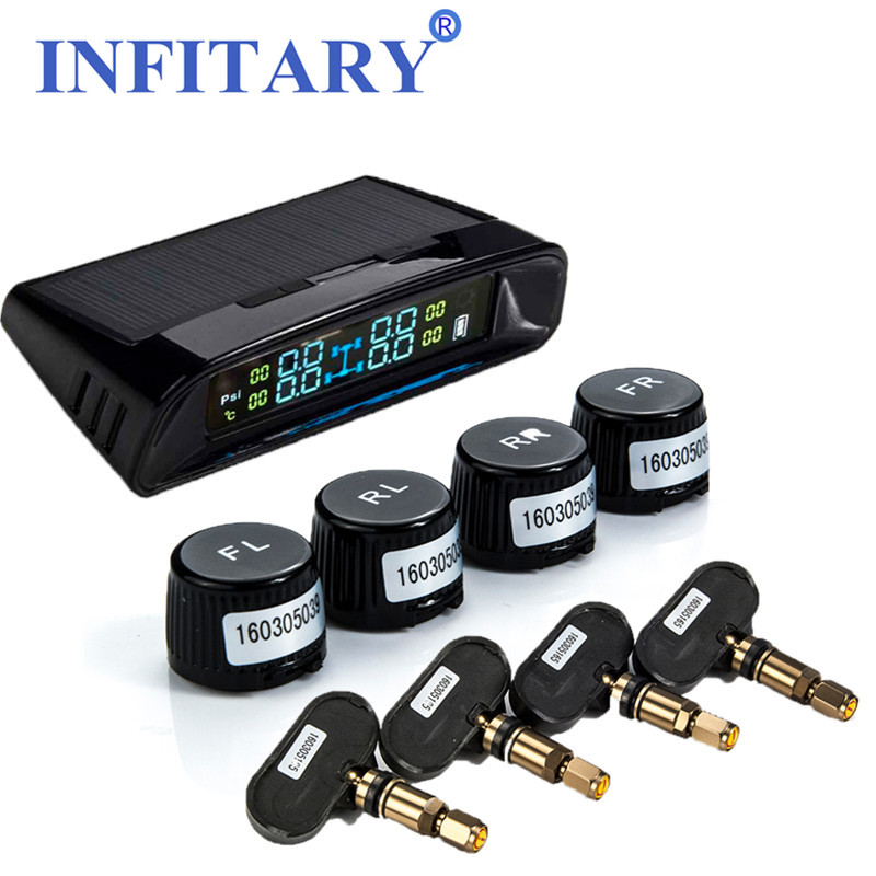 TN400 TW400 Smart Car TPMS Solar Tire Pressure Monitoring System LCD Display Wireless Auto Alarm with