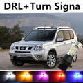 Para nissan x trail qashqai acessórios 2008-2012 LED DRL Daytime Running Light & Turn Signal Luz Lembrar Xenon lâmpada Branco + Âmbar
