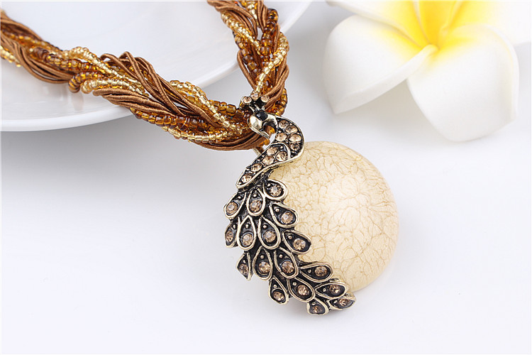 ZOSHI Blue natural crystal stone pendant necklace fashion peacock pendant necklace for women jewelry 12