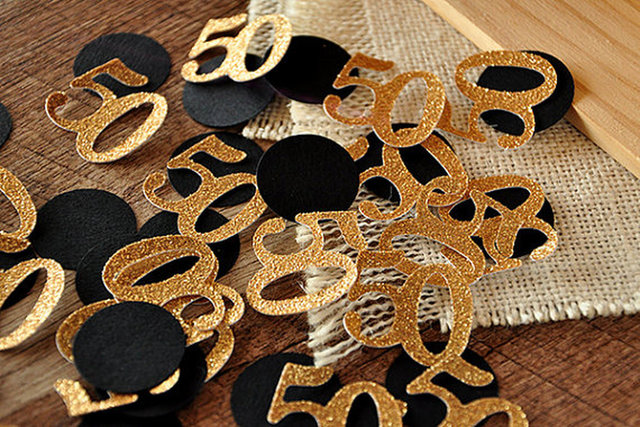 Glitter Gold Black 50th Birthday Party Table Confetti Decoration