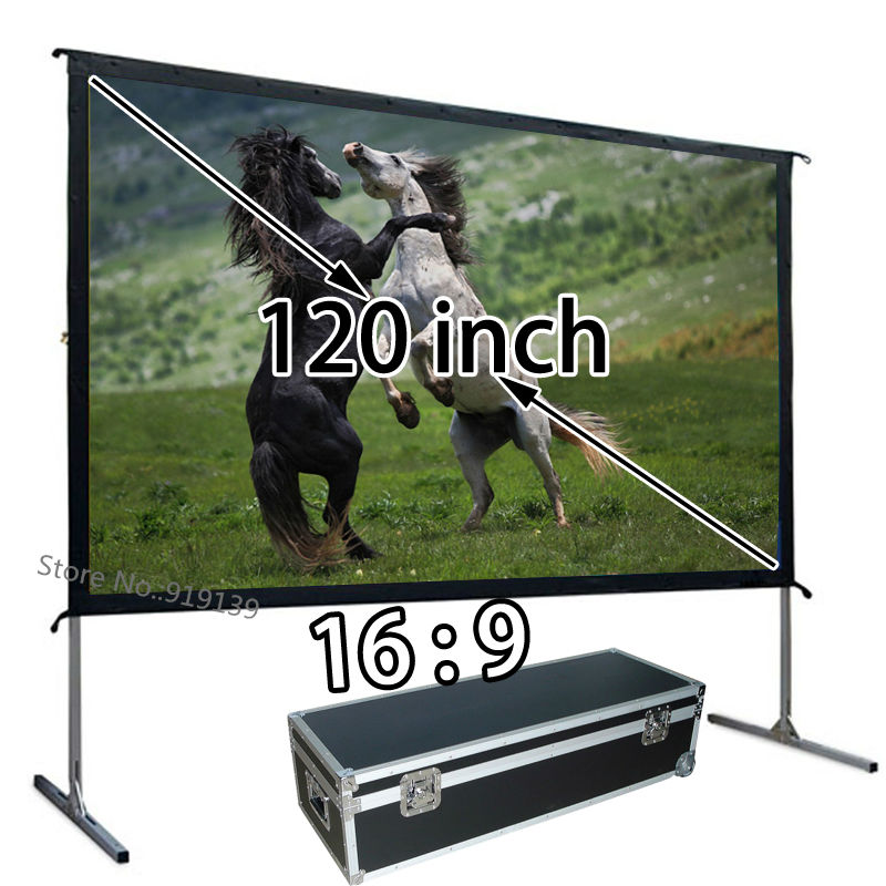 Quality Image Fast Install Front Projection Screen 120inch 16 To 9 Format For Epson BenQ Projector
