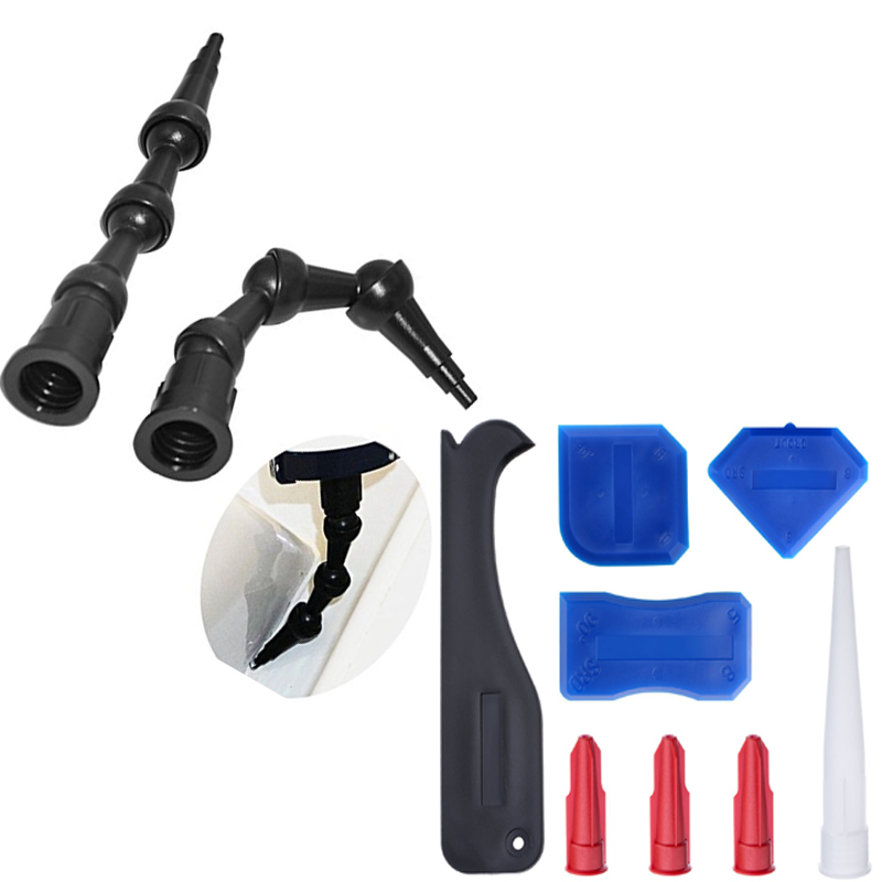 10sets Per Order 2pcs 360 Degree BENT Caulk Nozzle 45 Articulating Nozzle System 45 Degree Angle Nozzle And Sealant Scraper