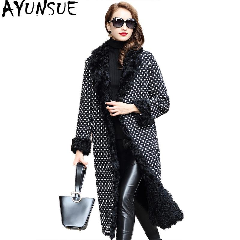 AYUNSUE 2018 Luxury Women's Fur Coats Natural Lamb Fur Liner Woolen Tweed Coat Female Long Dot Warm Winter Jacket Women WYQ1823