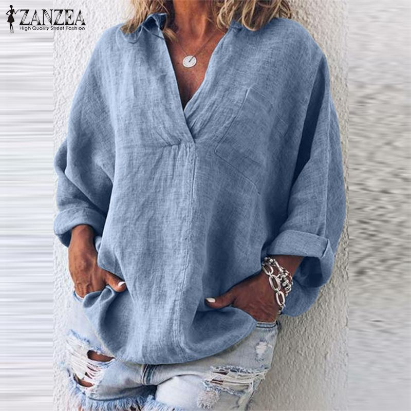 Blusas Top 2019 ZANZEA Summer Party Tunic Tops Casual Solid V Neck Tee   Shirt   Women Long Sleeve Loose   Blouse     Shirt   Chemise Female