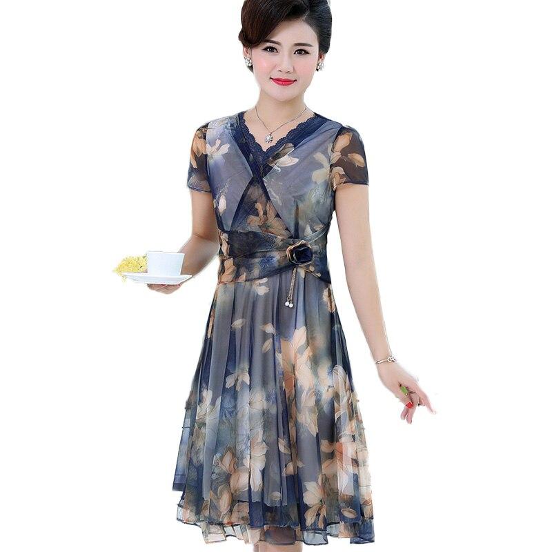 2019 nouvelle robe à imprimé Floral d'été femmes élégant à manches courtes bleu violet fleur imprimé Midi robes en mousseline de soie femme NW1826
