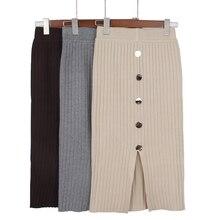GIGOGOU осенне-зимние вязаные женские юбки с высокой талией, Теплая юбка, длинные женские юбки с пуговицами