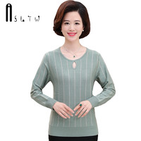 ASLTW Female Sweaters 2017 New Fashion Striped Long Sleeve Cashmere Pull Femme Women Pullover Hollow O