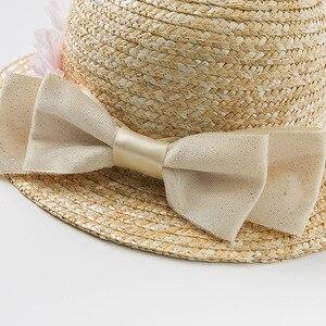 Image 4 - DB10478 dave bella ฤดูร้อนเด็กทารกสีเหลืองโบว์หมวกเด็กแฟชั่นดอกไม้ฟางหมวก