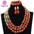 Dubai Luxury 3 Layers Wedding African Coral Beads Jewelry Set Gold Plated Beads Accessories for Bride Free ShippingABL784