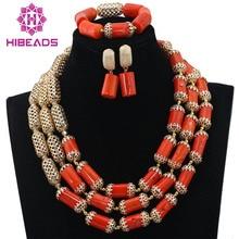 Dubai Lujo 3 Capas de Coral Perlas Africanas de La Boda Joyería Conjunto Chapado En Oro Perlas Accesorios de La Novia Del Envío ShippingABL784