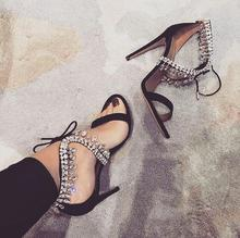 Sexy Black Suede Crystal Embellished Strap Stiletto Heels Women Sandals Tie-up Front Gladiator Sandal Shoes Women Cut-out Pumps недорого