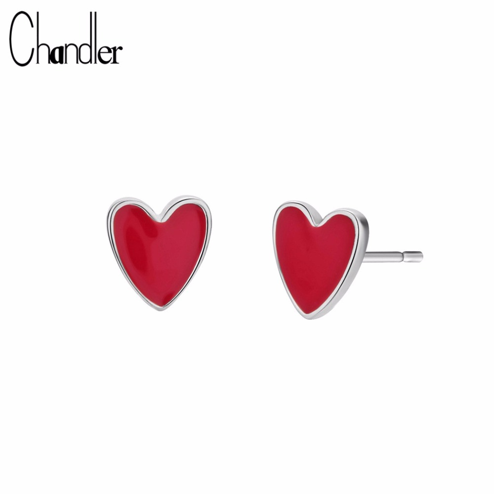 Chandler Cute Sweet Small Red Love Stud Earring Epoxy Red Glaze Piercing Ear Jewelry Anti-allergy Mini Earrings Girl Kids Gift