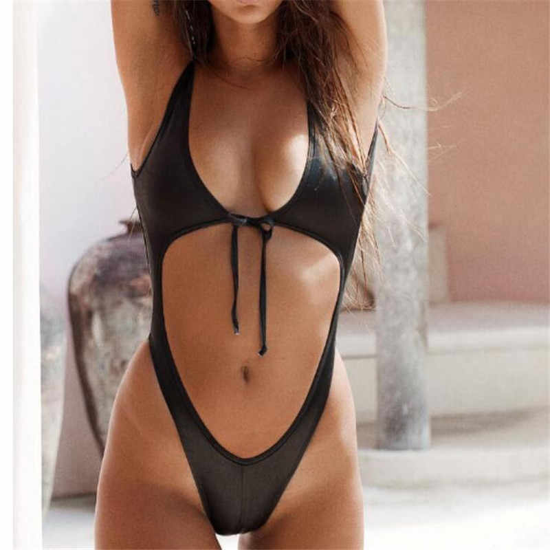 c82ff3cdb8 Detail Feedback Questions about 2018 thong monokini tie one piece swimsuit  women high cut out bathing suit push up micro swimwear girl beach wear  black ...
