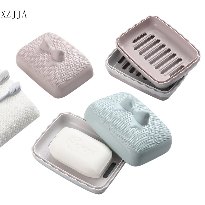 XZJJA Cute Double Layers Waterproof Soap Dish Outdoor Travel Soap Organization Case Bathroom Draining Soap Holder With Cover