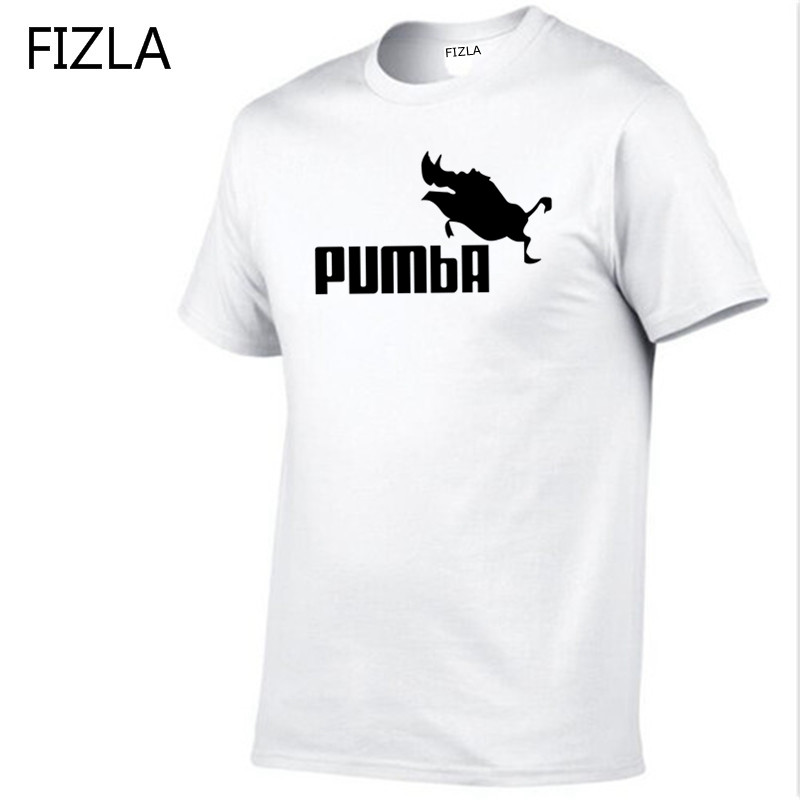 FIZLA funny tee cute   t     shirts   homme Pumba men short sleeves cotton tops cool tshirt summer jersey costume summer mens   t  -  shirt
