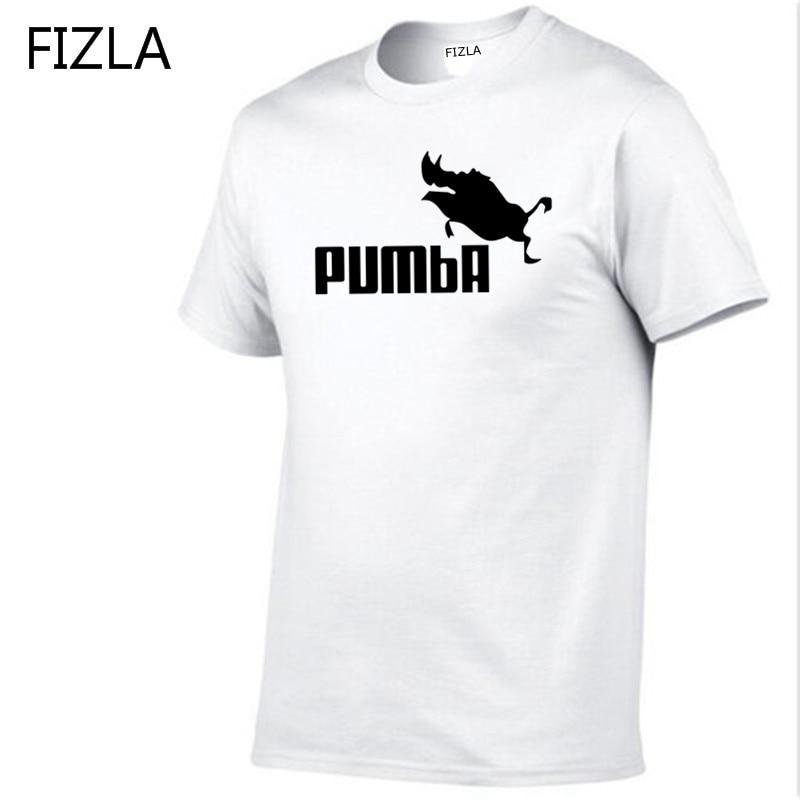 FIZLA funny tee cute t shirts homme Pumba men short sleeves cotton tops cool tshirt summer jersey costume summer mens t-shirt