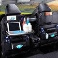 Автомобильный Органайзер на заднюю часть сиденья, искусственная кожа, сумка для хранения автомобиля, органайзер, складной настольный лоток...